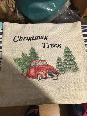 Christmas Pillow - Christmas Trees Truck