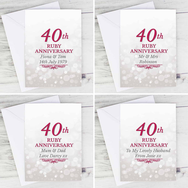 personalised ruby wedding anniversary card. Personalised on the front and inside for a unique 40th anniversary gift.