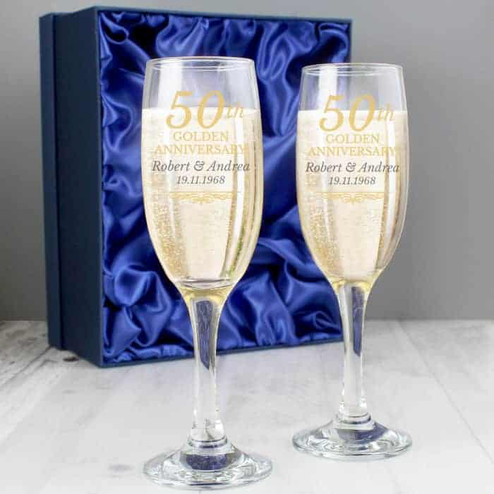 50th Golden Anniversary Pair of Flutes