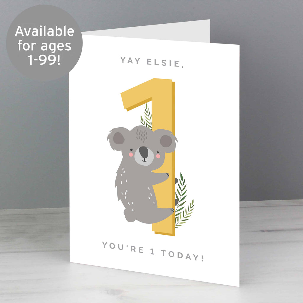 any age animal birthday card. Personalised card from CalEli Gifts.