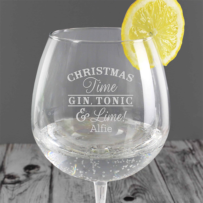 Christmas Gin Glass