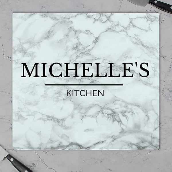 Glass Chopping Board. marble effect glass chopping board can be personalised over 2 lines for a modern practical keepsake.