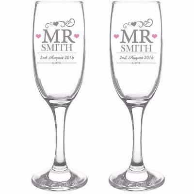 Mr & Mr Flutes with Gift Box - CalEli Gifts