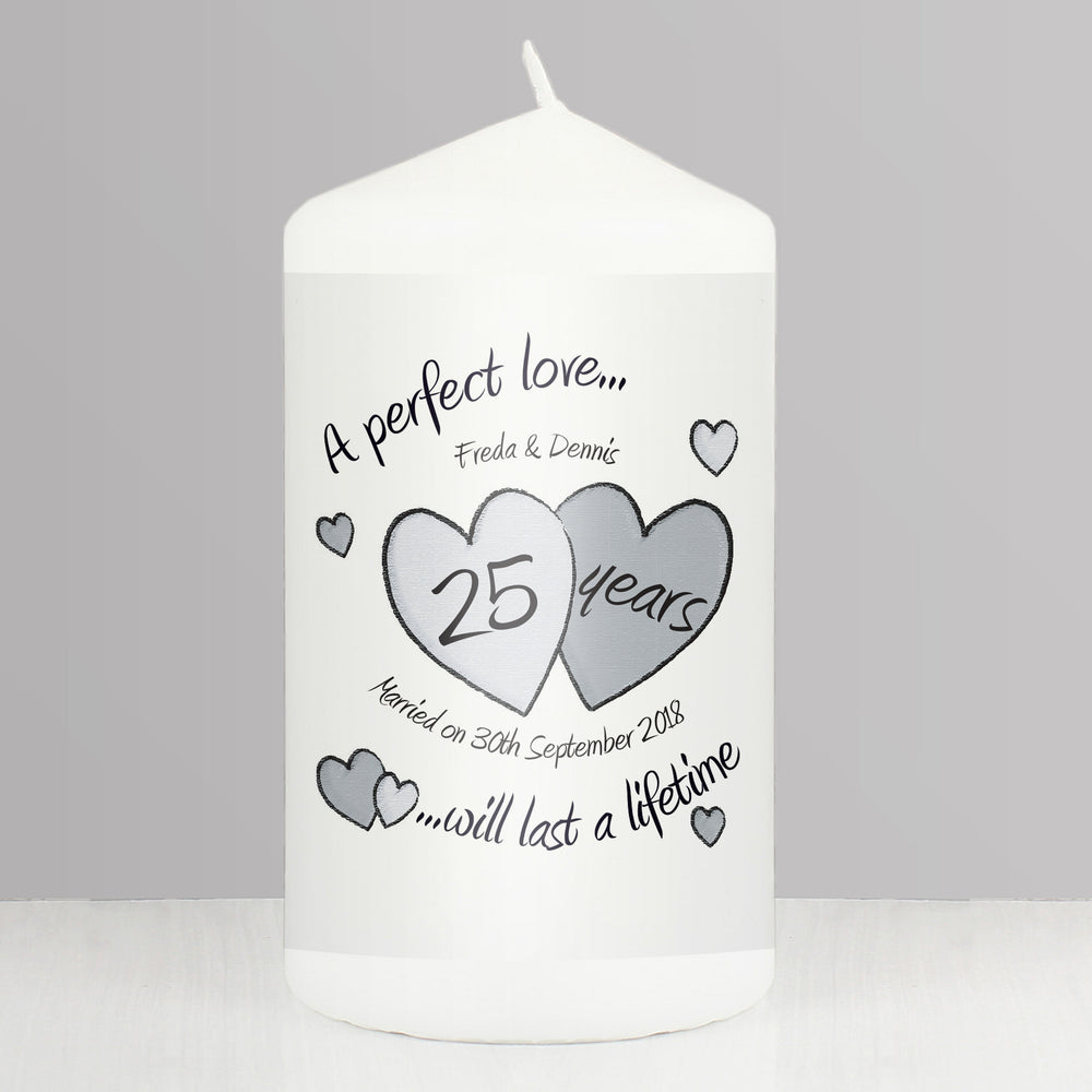 Silver Wedding Anniversary Candle