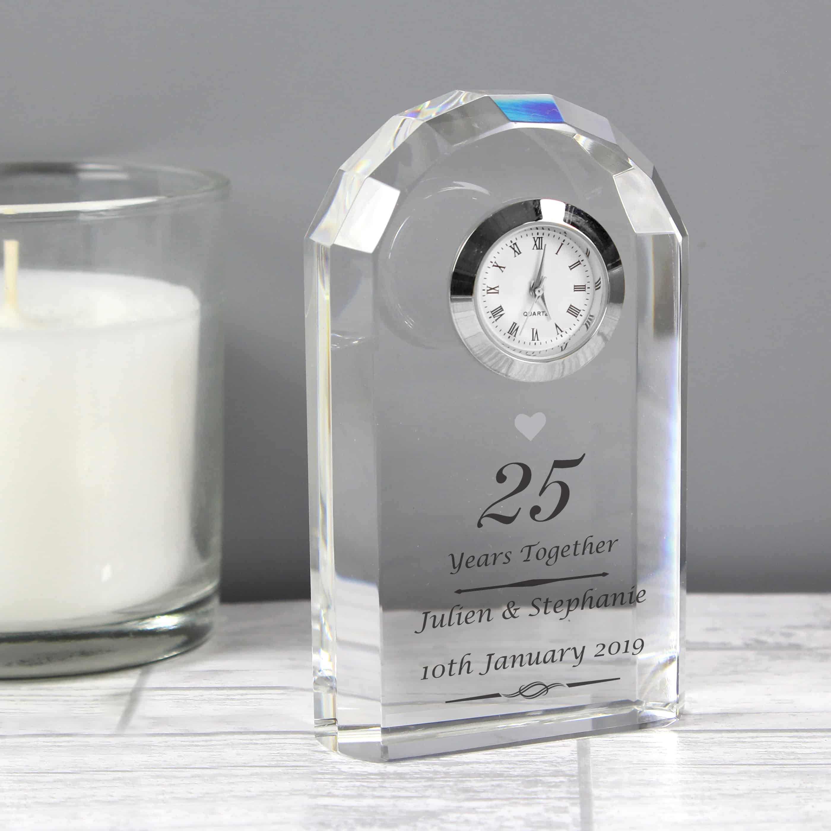 Silver Wedding Anniversary Clock - CalEli Gifts