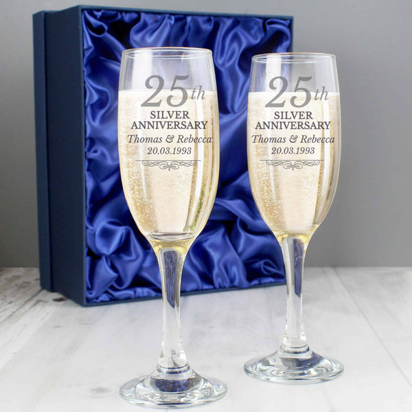 Silver Wedding Anniversary Pair of Flutes - CalEli Gifts