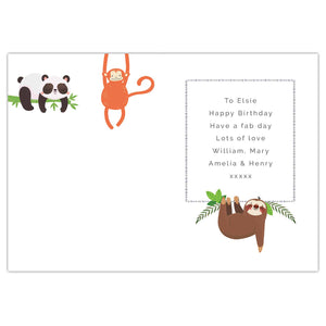 personalised any age animal birthday card