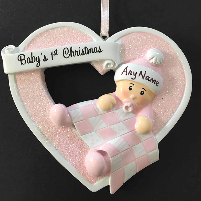First Christmas Baby Girl Heart