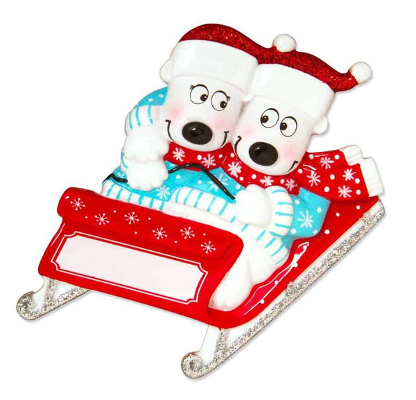 personalised bears on sledge tree decoration