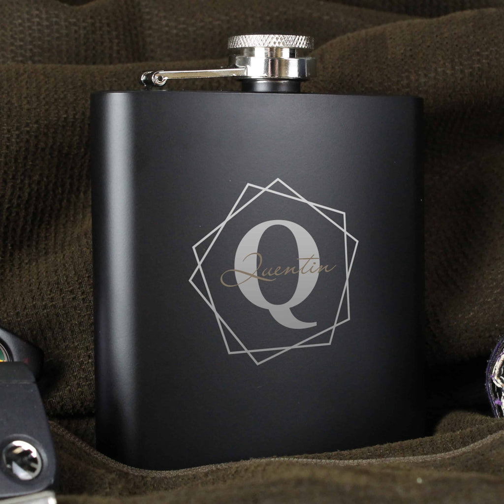 stainless steel black hip flask engraved with an initial and name
