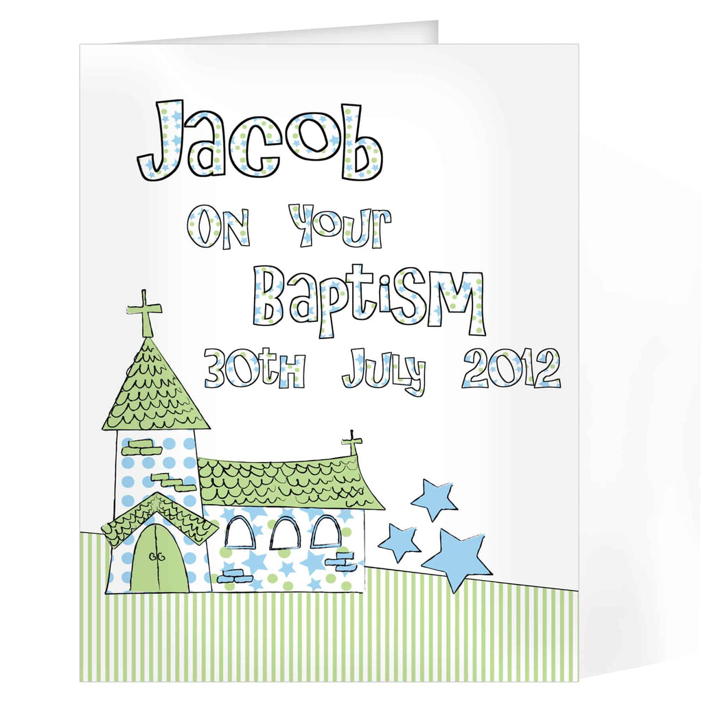 personalised blue church card ideal for any occasion - baptism, christening, 1st , confirmation etc