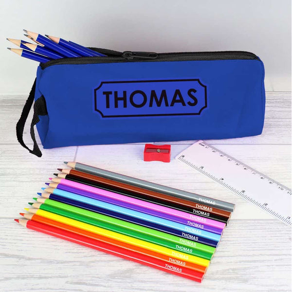 personalised pencil case set with pencils