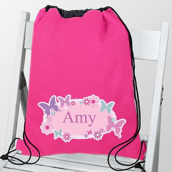 Butterfly Swim and Kit bag from Edinburgh based company, CalEli Gifts. A pink drawstring bag that can have any name personalised on the front.