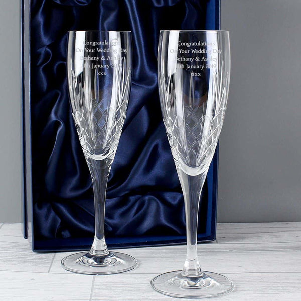 engraved champagne flutes with gift box.