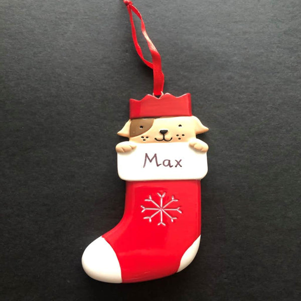 personalised dog in stocking decoration