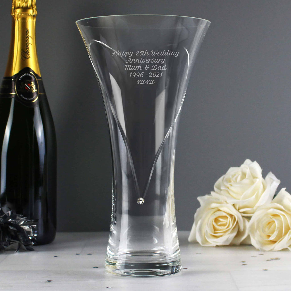 diamante vase engraved with a message over 5 lines