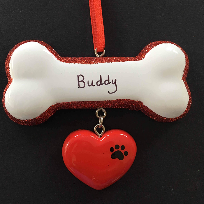 Dog Bone with heart Tree Decoration - CalEli Gifts