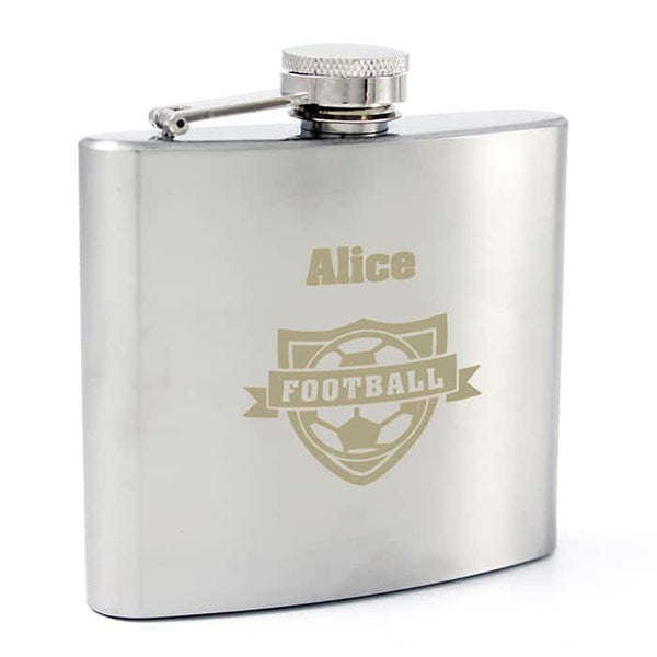 football hip flask. a stainless steel hip flask that can be engraved with any name for a unique gift for a football fan.
