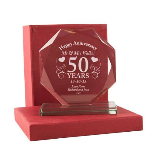 Golden Anniversary Gifts. Any names can be engraved on this glass ornament, Comes in a red presentation box.