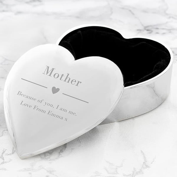 heart trinket box. a silver shaped trinket box with a black lining. A name can be engraved on the front and underneath a small heart a message over 2 lines can be engraved. A personalised gift for any occasion.