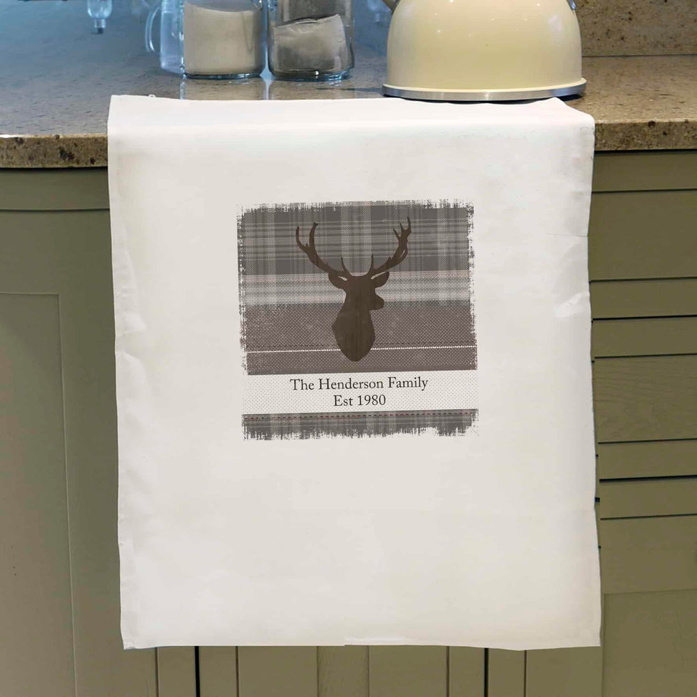 Personalised Highland Stag Tea Towel