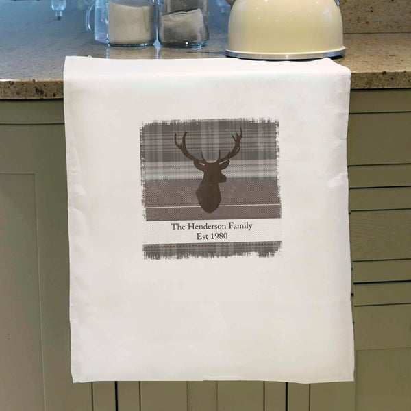 Personalised Highland Stag Tea Towel - CalEli Gifts