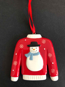 personalised christmas tree decoration snowman with blue jumper