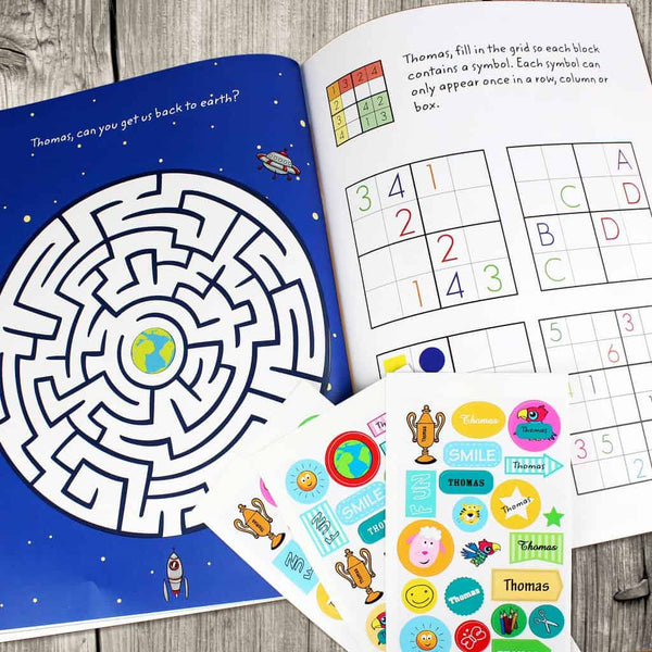 personalised kids activity sticker book