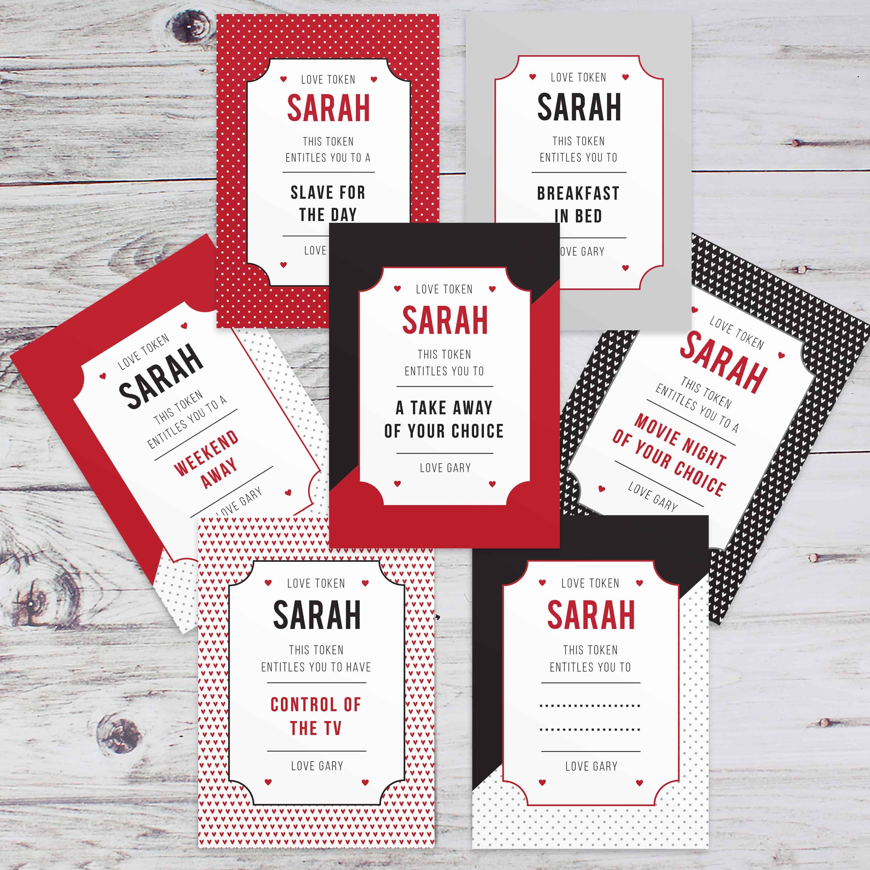 personalised love tokens. A pack of 24 cards that feature naughty and nice treats!