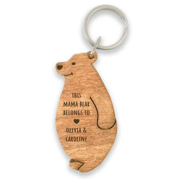 mama bear keyring. this wooden keyring features a mama bear standing. on her tummy is engraved