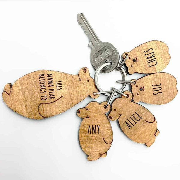 Mama Bear Keyring Chain Set.  This FSC walnut wood keyring comes in the shape of a smiling, standing bear with