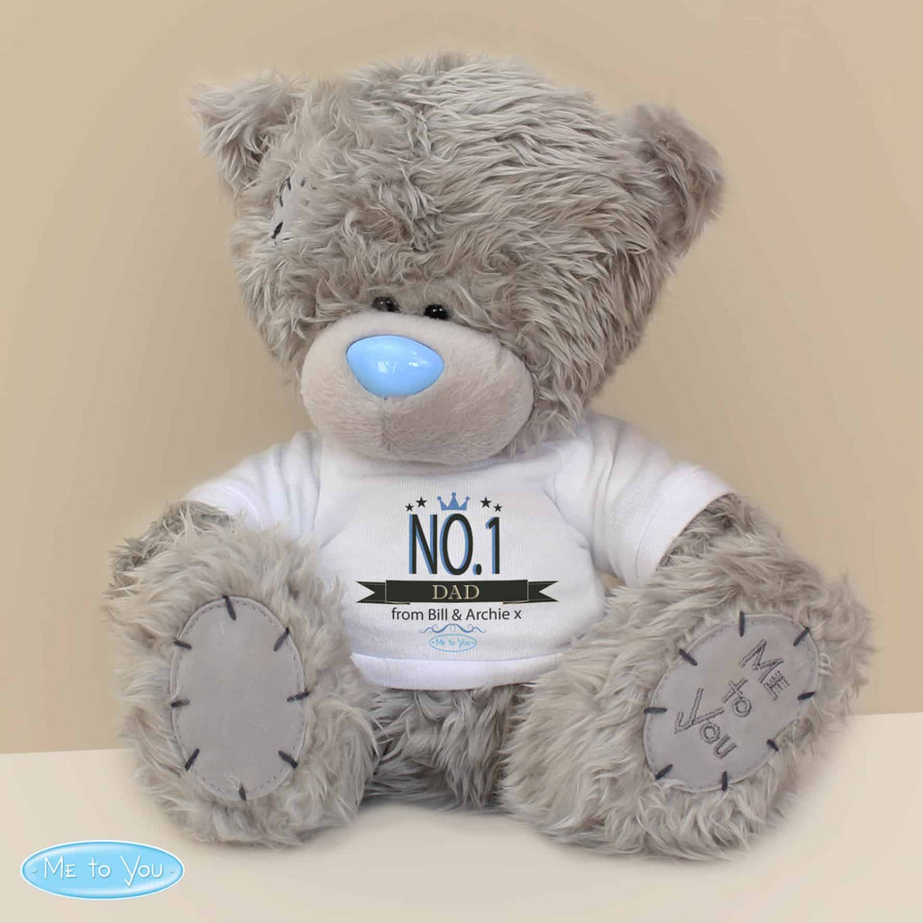 me to you no1 teddy bear. this bear can have a name or role and message personalised on the white t-shirt making it a great gift for any occasion - baby shower gift, valentine's day keepsake, mother's day, father's day present etc