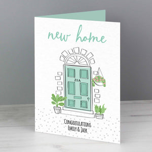 personalised new home card from CalEli Gifts. Can be personalised on the front with a house number and message and personalised inside too.
