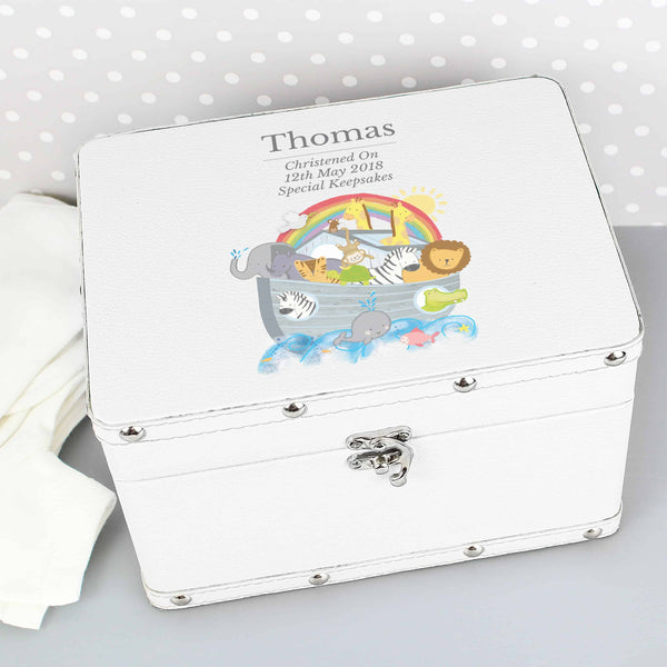noah's ark keepsake box. a white leatherette box with a metal clasp featuring a kids picture on the top. can be personalised with any message over 3 lines for a unique gift.