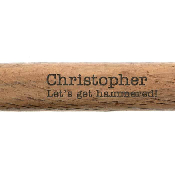 personalised hammer. This wooden hammer can have a message over 2 lines engraved on the wooden handle. An ideal gift for Father's Day, a birthday, New Home or Christmas present.