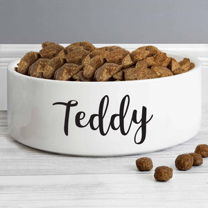 pet bowl. a white bowl available in 2 sizes that can have your pet's name personalised on it for free. a great gift for a dog's christmas, new pet, pet birthday etc