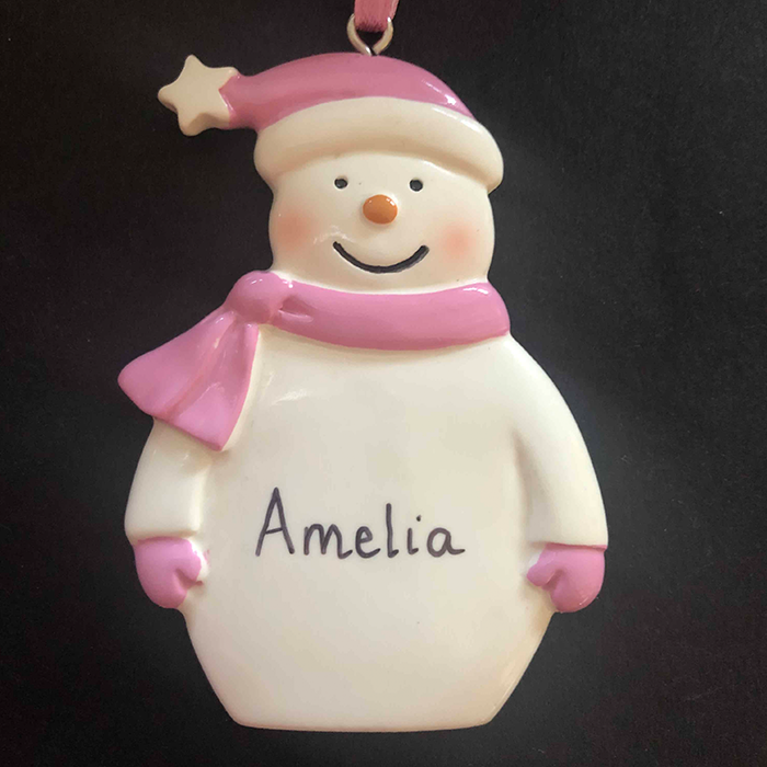 Pink Snowman Decoration