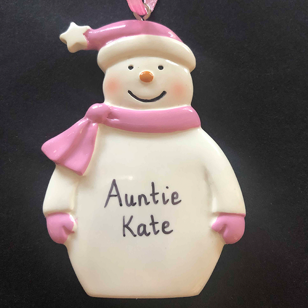 Pink Snowman Decoration - CalEli Gifts