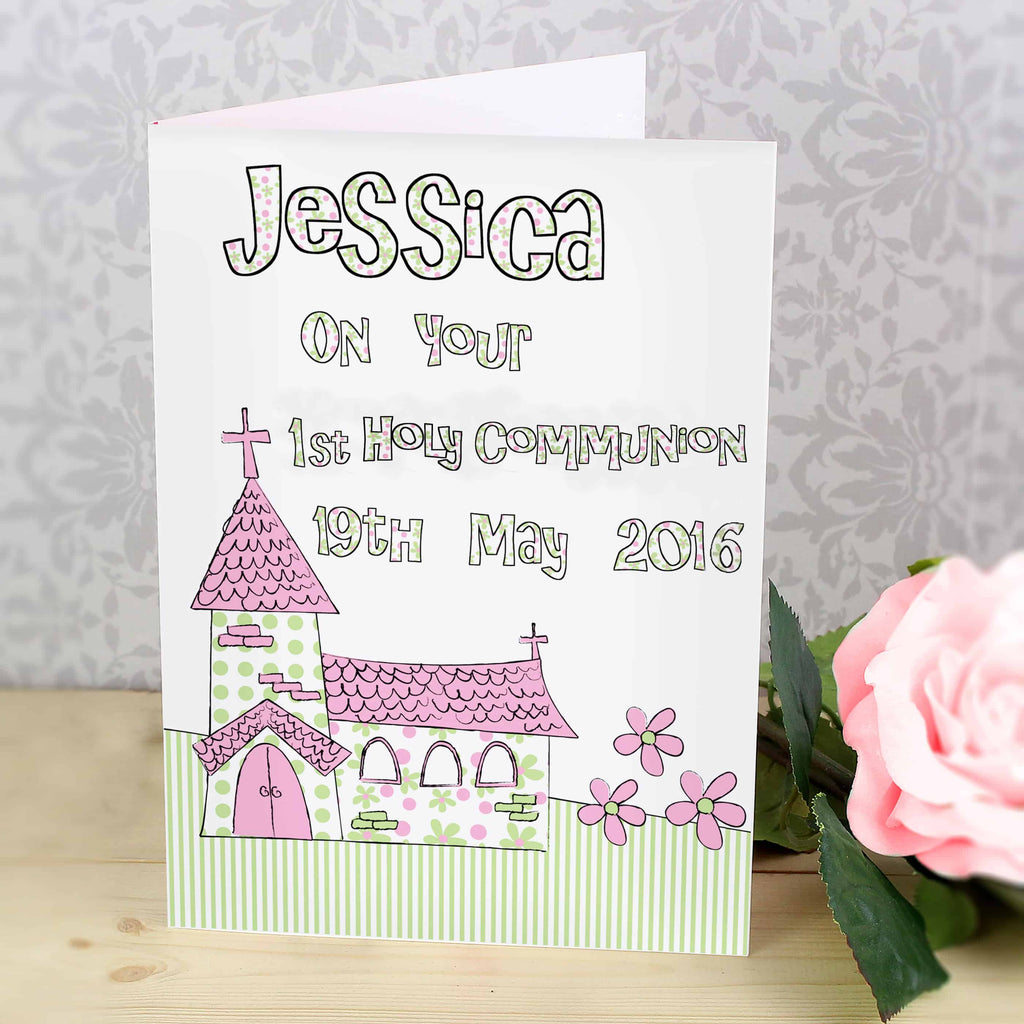 personalised pink church card suitable for any religious occasion - 1st holy communion, baptism, christening, confirmation etc