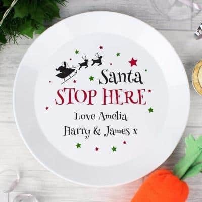 Santa Stop Here Plate - CalEli Gifts