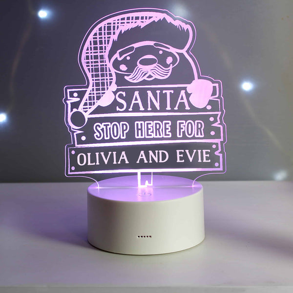 Santa Stop Here Light Up Sign - CalEli Gifts