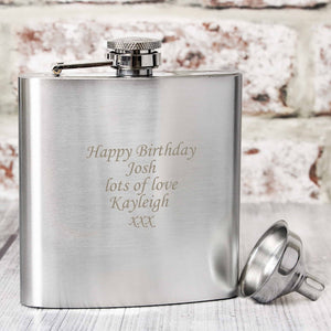 stainless steel hip flask can be engraved with any message over 5 lines.