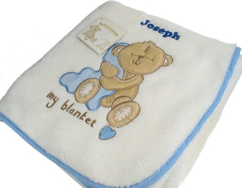 Teddy Blanket personalised with any name by Edinburgh based CalEli Gifts