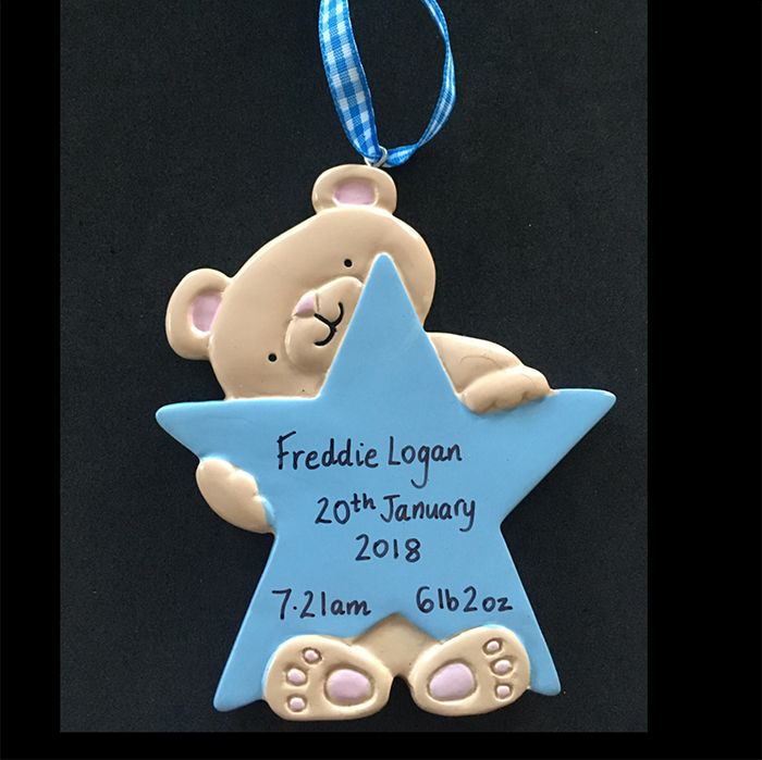 Teddy with Star Hanging Decoration