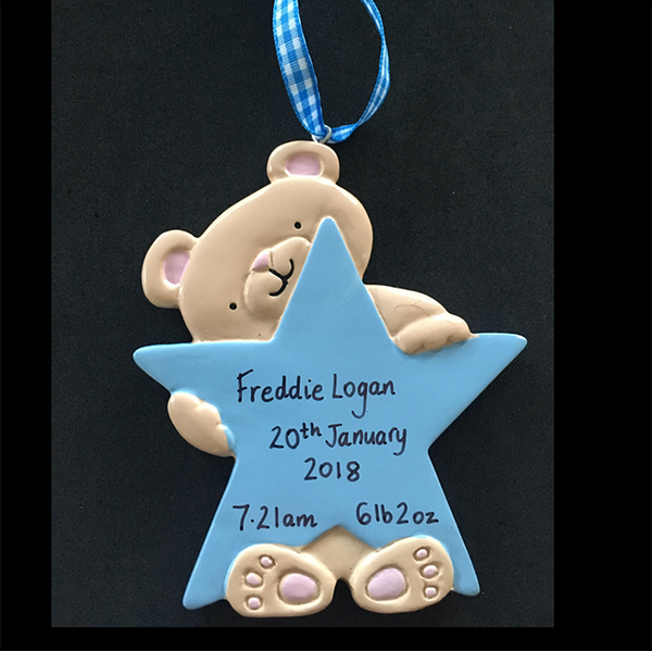 Teddy with Star Hanging Decoration - CalEli Gifts