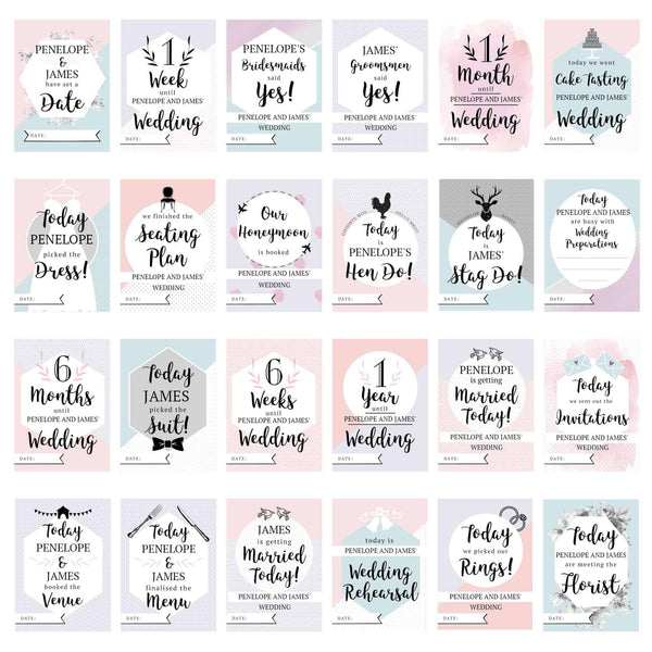 wedding milestone cards. a set of 24 cards that can have the couple's names personalised on each one. a great gift for any engaged couple