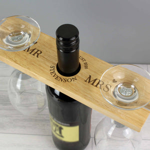 personalised couple's wooden wine butler