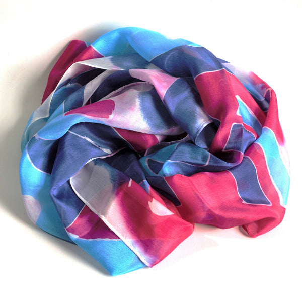 Pink & Blue hand painted silk scarf