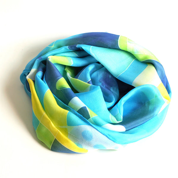 Blue & Yellow hand painted silk scarf