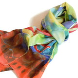 Vibrant hand painted silk scarf